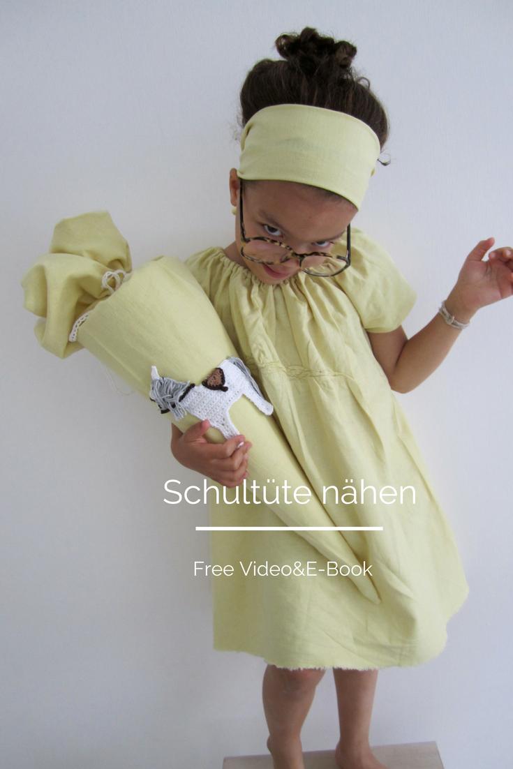 Die Anleitun ein viedo udn das kostenlose Schnittmuster für eine Schltüte findet ihr auf www.elfenkindberlin.de
