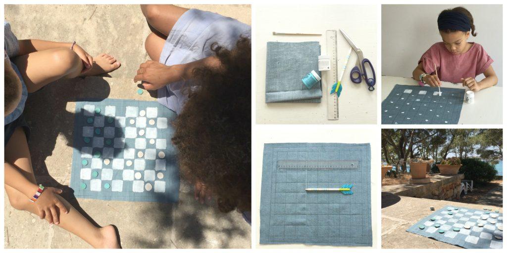 Damespiel zum mitnehmen! Ein hübsches kleines DIY für den Sommerurlaub oder einfach nur so! Noch mehr schöne DIY gibt es auf Elfenkindberlin!