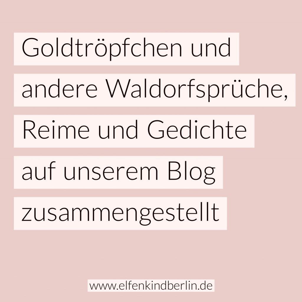 Goldtröpfchen Und Andere Waldorf Sprüchereime Und Gedichte