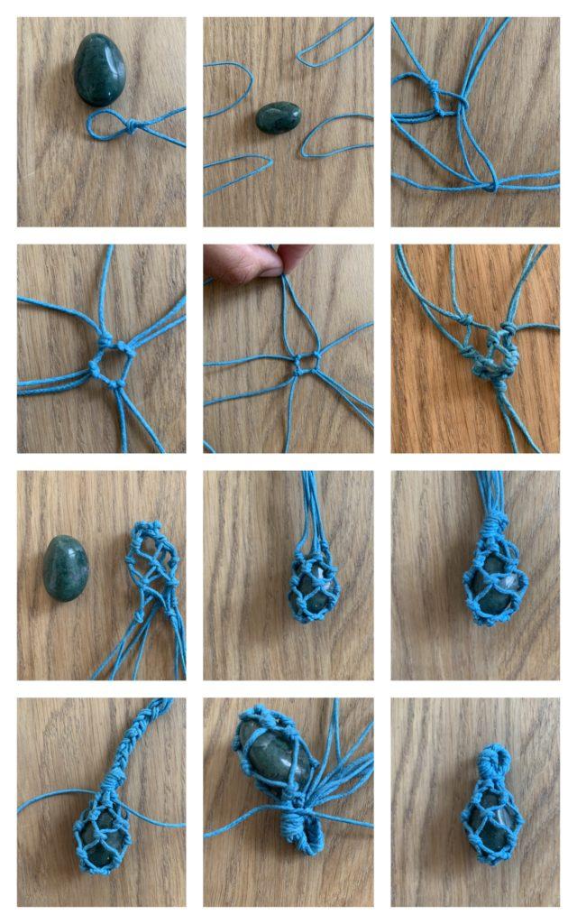 Stein mit Baumwollfaden einfassen im Makramee Style DIY! noch mehr bastel Ideen findet ihr auf www.elfenkindberlin.de