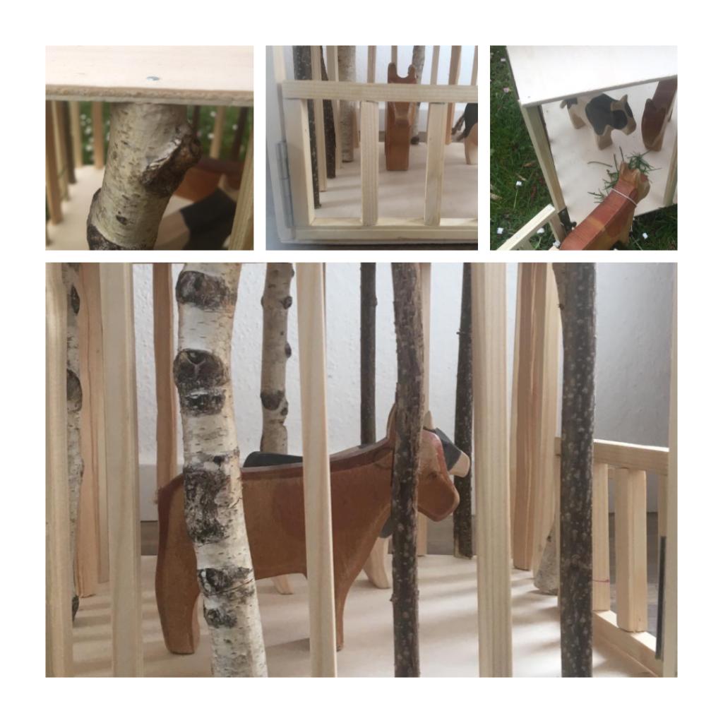 Spielzeug aus Holz selber bauen: Tierstall für Kinder zum spielen aus natürlichen Materialien