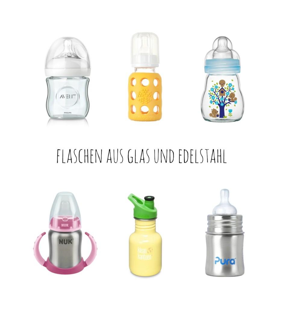 flaschen aus glas und edelstahl